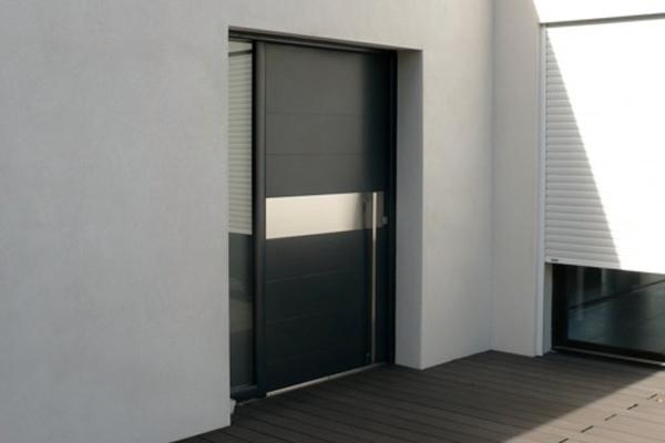 Conception portes d 39 entr e alu pvc b ziers les r alisations de la menuiserie loubet for Porte entree pvc gris anthracite